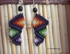 Cavandoli macramé arco iris morado & rojo pendientes, aretes coloridos fibra con ganchos de plata