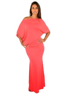Asymmetrical Coral Maxi Dress