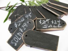 "SHOP :: 24 Wood price tags Chalkboard finish Reusable 1 1/4""W x 3""H :: $14.75 for 12 pcs...or 22.75 for 24 pcs (+3 ship, Free for addt'l orders) 