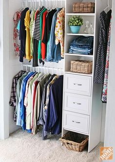 How to Build a Closet to Give You More Storage. 2 rods in our small closet for extra hanging space! Build A Closet, Kid Closet, Master Closet, Closet Bedroom, Closet Space, Home Bedroom, Closet Ideas, Shared Closet, Attic Closet
