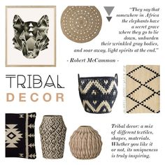 """Tribal Decor"" by c-silla ❤ liked on Polyvore featuring interior, interiors, interior design, home, home decor, interior decorating, Rifle Paper Co, Bloomingville, Rizzy Home and DAY Birger et Mikkelsen"