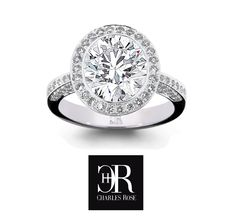 Lights, camera, OMG !A large Brilliant cut diamond is surrounded by 26 smalls, in an 18 carat white gold (or platinum) fully hand made setting featuring diamond pave set shoulders. Price dependent on configuration. Exclusive to CR. #charlesrose #whitegold #engagementring #engaged #handmade #melbourne