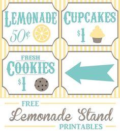 Free Lemonade/cookie Stand Printables
