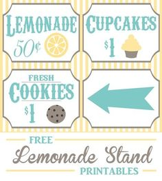 Lemonade Stand Free Printables! These are so cute. I can do so many cute summer craft projects with these!