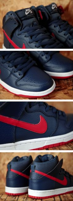huge discount 64e2b a24f4 Nike SB Dunk High Pro  Squadron Blue  University Red Nike Skateboarding,  Swag Shoes