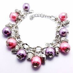 Cupcake Charm Bracelet with Pink and Purple Beads