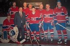 Montreal Canadiens 75th year Anniversary, all time team. Jaques Plant, Larry Robinson, Maurice Richard, Bob Ganiey, Douglas Harvey, Toe Blake, Auriel Joliet, Jean Beliveau