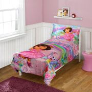 Dora the Explorer Toddler Bedding 4-Piece Set, La Imagination, $64.99