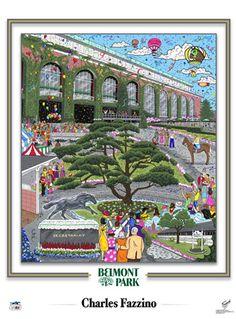 Belmont Park Horse Racing Commemorative Pop Art Poster - Charles Fazzino - available at www.sportsposterwarehouse.com
