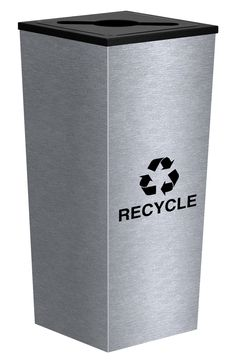 18 Gallon Stainless Steel Single Stream Metro Collection Recycling Bin RC-MTR-1 SS Multi Purpose Lid