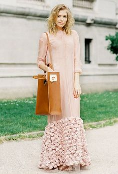 Floor length blush pink tulle dress with floral bottom detail