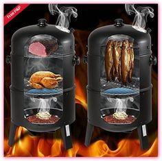 Charcoal Smoker Barrel Patio Barbecue Grill BBQ Fish Air Vent Heat Temp Lid Bowl