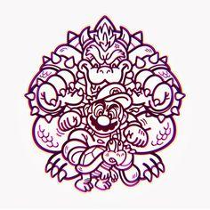 3nes exhibit - Super Mario Bros. Illustration of Koopa Troopa, Mario, and Bowser