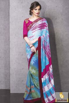Buy online multi color silk georgette women saree online shopping is very nice looking Indian traditional wear saree. women can wear in wedding function or in any party event #saree, #embroiderysaree more: http://www.pavitraa.in/store/embroidery-saree/