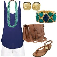 navy and teal....best of all love the accessories