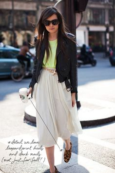 coco+kelley_chartreuse+black+white_street style