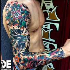 60 Traditional Tattoo Sleeve Designs For Men - Old School Id.- 60 Traditional Tattoo Sleeve Designs For Men – Old School Ideas Colorful Male Traditional Sleeve Tattoo Designs - Colorful Sleeve Tattoos, Best Sleeve Tattoos, Tattoo Sleeve Designs, Tattoo Designs Men, Space Tattoo Sleeve, Fake Tattoos, Body Art Tattoos, New Tattoos, Tattoos For Guys