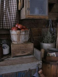 Primitive dry goods farm bin at Sweet Liberty Homestead. Perfect for your buttery or pantry shelves. Anywhere!!!