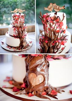 Wedding Cake- what a cute idea! If it was an autumn wedding you could do gold, red, orange and brown leaves.--- i would carve initials in the heart ;)