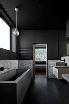 5 Of The Hottest European Home Designs Today [Bathroom Ideas, Black Bathroom, Floating Vanity, Vessel Sink, Tile Wall Bathroom, Herringbone Tile Floors, Drop In Tub, Modern Bathroom Ideas]