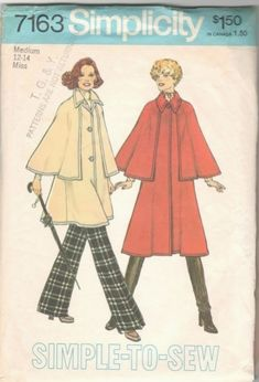Vintage Sewing Patterns Simplicity 7163 Cape Coat Pattern Bust - Long or short coat without sleeves has cape stitched to front and back. Three button closing, collar and top stitching.Size Large Bust Waist Hip complete and in original folds. Coat Pattern Sewing, Cape Pattern, Coat Patterns, Dress Patterns, Simplicity Sewing Patterns, Vintage Sewing Patterns, Vintage Knitting, Womens Cape Coat, Patron Vintage