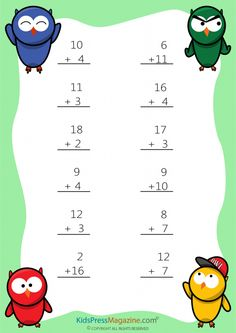 Easy Sums – Add to 20 Worksheet – #4 #1st #grade #math #simple #addition #worksheet
