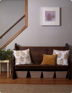 hallway bench, open staircase