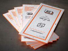 Invitation Graphical & Digital Media Event Letterpress 2 colors - Edge coloring Fluo orange Printed by www.letterpressgust.com