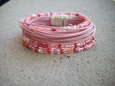Soft Pink Multi Strand Leather Bracelet with by DesignsbyPattiLynn, $50.00