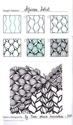 Zentangle. Обучение. Формат страницы А5. Гелевая ручка, карандаш. Шаблон с…