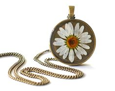 Real flower necklace wild chamomile - handmade resin jewelry - Matricaria inodora. $28.00, via Etsy.