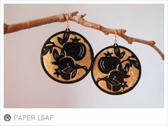 Pomegranade | paper cut earrings with metal leaf | Paper Leaf