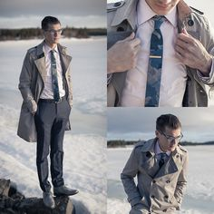 Psc The Nato, Indochino Pink Shirt, Cole Haan Gray Boots, H&M Trench