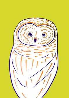 Beautiful Barn Owl. home decor - kids wall art - room decor - owl art…