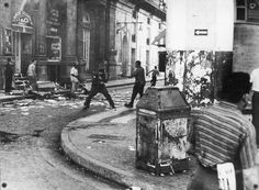 Street fight during the final days of the revolution in Havana, Cuba, 1959