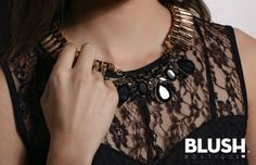 Gold Necklace with black stones #Stone #black #Gold #Necklace
