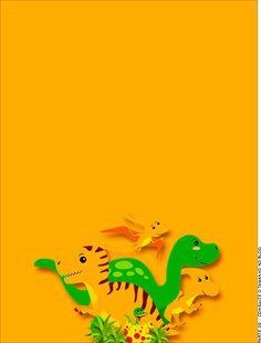 Passaporte - Parte de dentro - Convite Dinossauro Cute