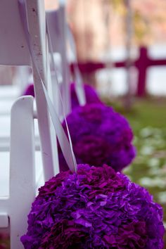 Beautiful Purple Garlands for Wedding Aisle  www.jennifercasson.com