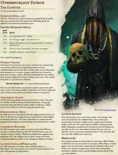 Warlock Subclass: The Eldritch. Turn your enemies insane with the cosmic horror of this lovecraftian patron. (Includes new spells, pact boon and eldritch invocations in comments) - UnearthedArcana Dungeons And Dragons Classes, Dungeons And Dragons Homebrew, Dungeons And Dragons Characters, Dnd Characters, Warlock Spells, Warlock Dnd, Warlock Class, Dnd Dragons, Dnd Classes