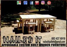 Table and stool sets. Perfect addition to the braai, mancave or pool area. Affordable, custom built, wooden furniture. Designed by you, built by us. For more info, contact 0834376919 or naileditpallets@gmail.com #barfurniture #outdoorfurniture #patiofurniture #palletbarfurniture #mancavefurniture #pallettableandchairs #nailedpalletfurnituredurban #naileditcustombuiltpalletfurniture #custompalletfurniture #palletfurniture #palletfurnituredurban #furniturepallet