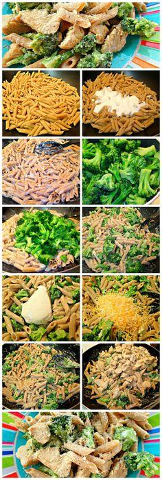 Whole Wheat Broccoli  Chicken Alfredo!