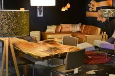A combination of wooden furniture, wall elements, veneer lamps and high-end upholstery: our Exhibition Stand at Bauen+Wohnen Salzburg Salzburg, Wooden Furniture, Designer, Lamps, Upholstery, Table, Home Decor, Tree Trunk Table, Timber Wood