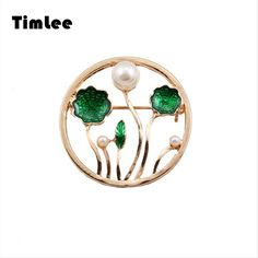 Timlee X034  Glaze Enamel   Lotus Pond Moonlight  Imitation Pearl Texture Brooch Pins,Fashion Jewelry Wholesale