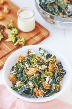Recipe: Broccoli and Kale Caesar Salad — Quick and Easy Vegetarian Dinners