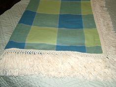 "RECTANGULAR TABLECLOTH 63X88 BLUE & GREEN 5"" NATURAL FRINGED EDGES   eBay"