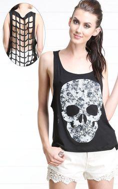 Floral Skull Cage Back Tank Top BLACK