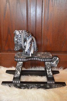 Black and White Damask Rocking Horse Photography by AshburyPanache, $48.00