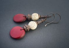 boho tribal earrings • antique copper • red Tagua • carved white Howlite • dangle • ethnic jewelry • sequin • oxidized copper • organic by entre2et7 on Etsy