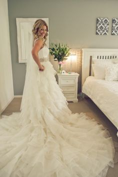 is a train. Mod Wedding, Wedding Bells, Crazy Wedding, Bridal Gowns, Wedding Gowns, Wedding Attire, Perfect Wedding, Dream Wedding, Marry You