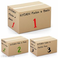 Moving hacks: Label and number boxes in order of unpacking priority Moving Hacks, Moving Tips, Moving Home, Moving Day, Moving Labels, Moving To Ireland, Muffins, Moving And Storage, Packing Boxes
